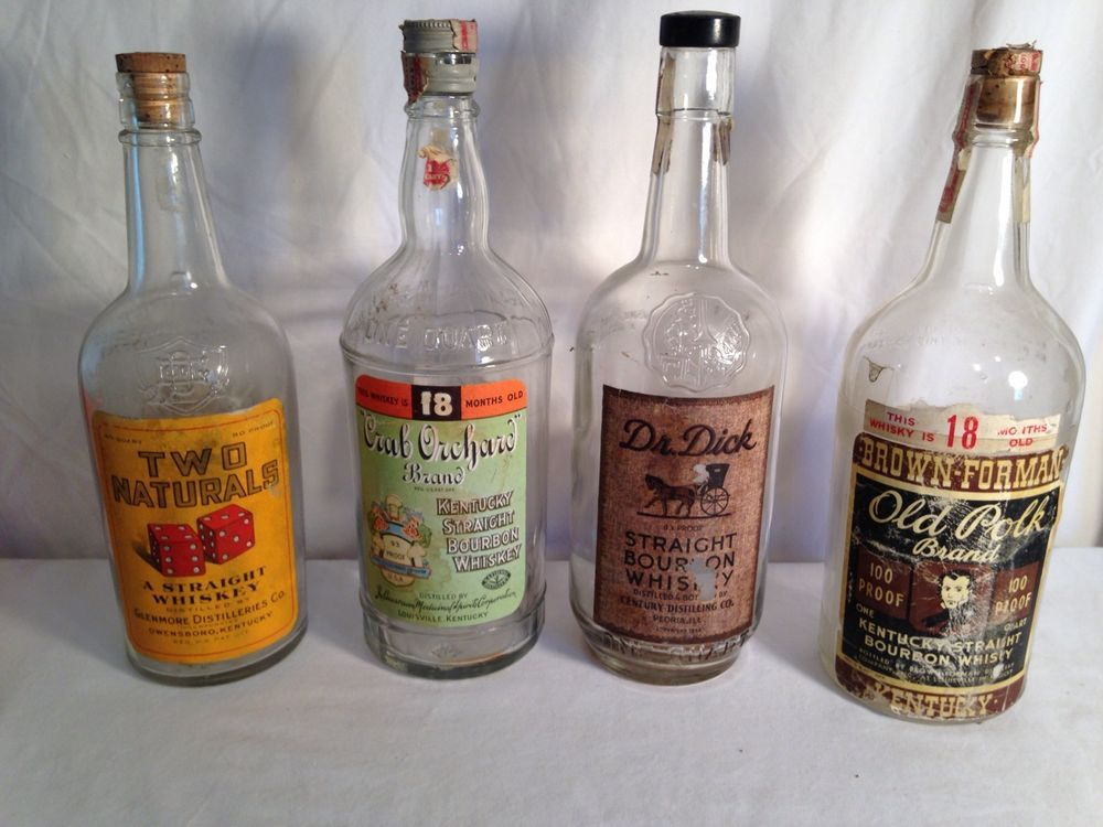 Dr Dick Two Naturals Old Polk Crab Orchards 1930'S Whiskey Bottles Rare Kentucky