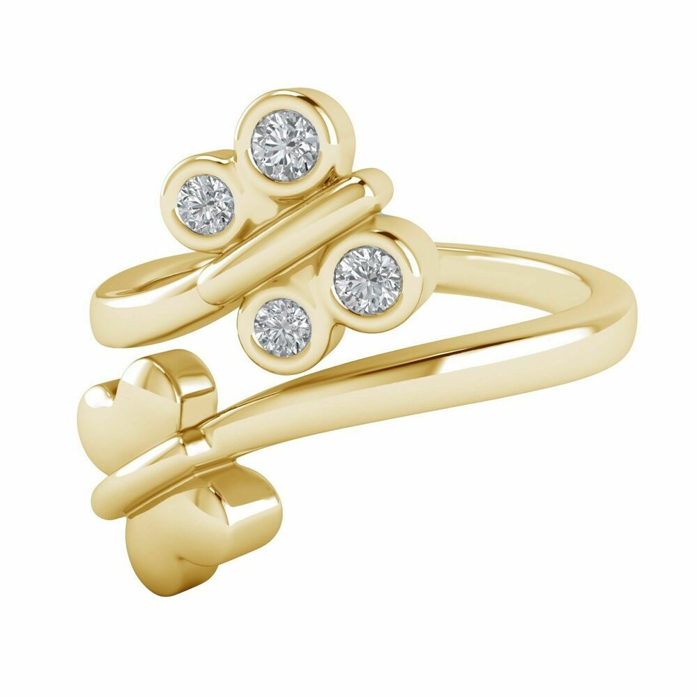 0.13 Ct Round Cut Diamond 14k Yellow Gold Fn Bypass Adjustable Fashion Toe Ring