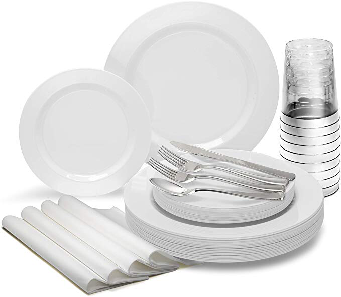 25 x 10.5 Dinner 25 Guests - Heavyweight Wedding Party Disposable Plastic Plate Set Plain White OCCASIONS 50 Plates Pack 25 x 7.5 Salad//dessert plates