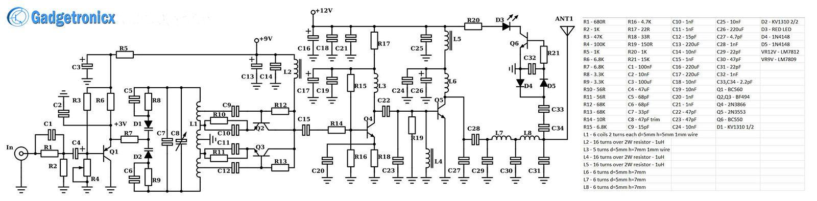 making of km range fm transmitter circuit as diy project guide making of 3 km range fm transmitter circuit as diy project guide to build a 2 miles or 3 km ranged fm transmitter circuit diagram schematic design