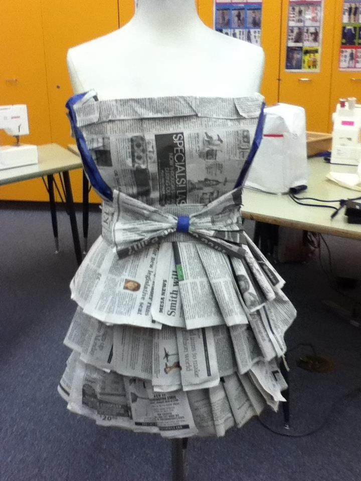 This Is A Dress I Made For The Recycle And Redesign Competition At The Fccla Conference Succeeding In Makin Fashion Design Classes Newspaper Dress Paper Dress