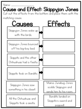 Skippyjon Jones Collection Of Cause And Effect Worksheets Cause