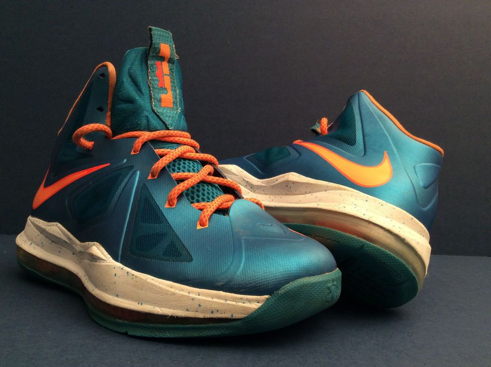 Nike Air ZOOM LEBRON 10 X BALTIC BLUE ORANGE {543564-402} Youth Shoes