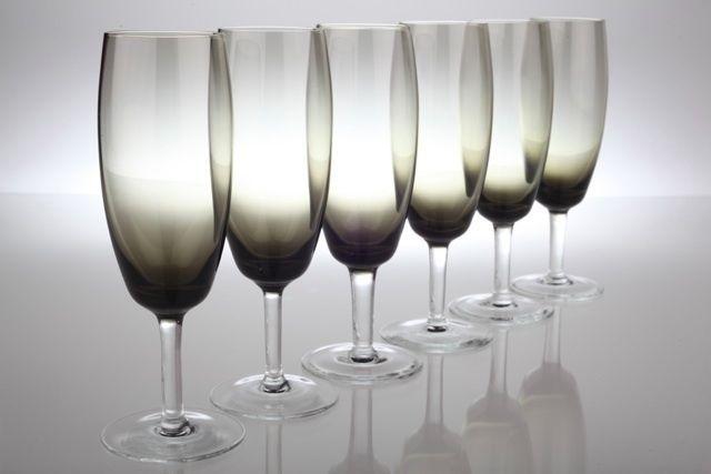 6 Vintage Rauchglas Sektgläser Sektgas grau 50er 60er Jahre Ritzenhoff Gläser