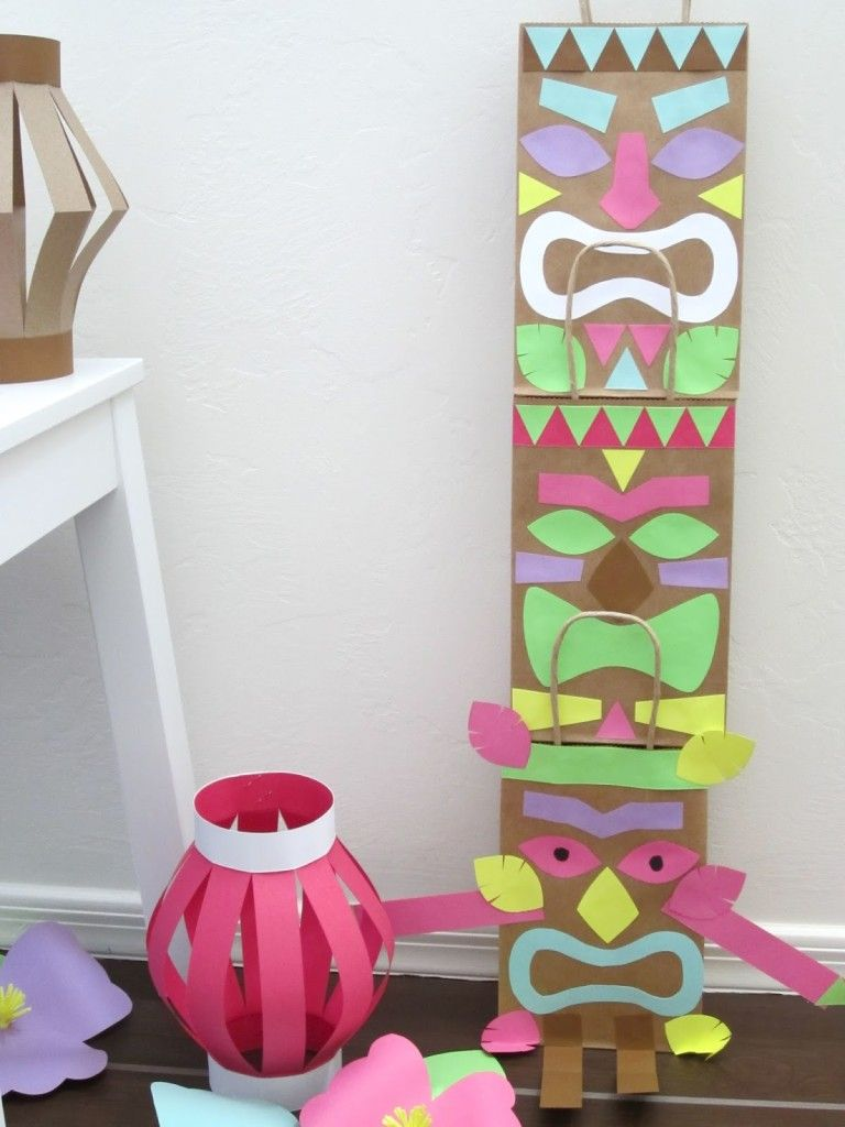 tiki craft lilly s 5th birthday pinterest brown paper totems