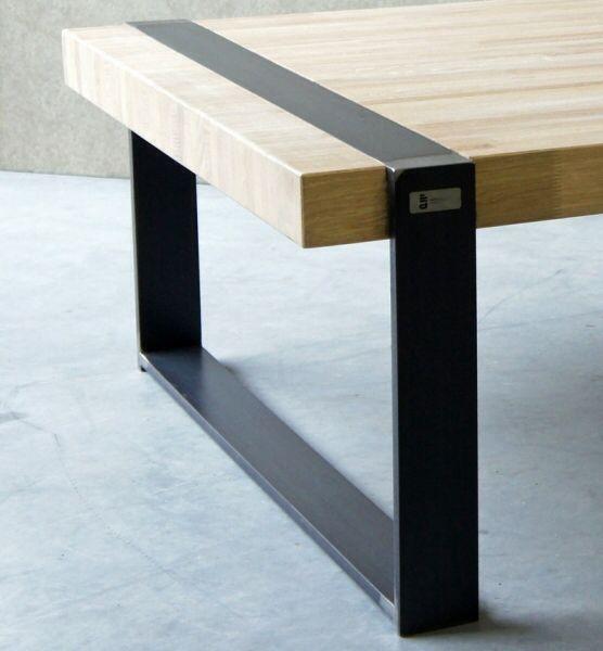 table metal et bois patte encastree