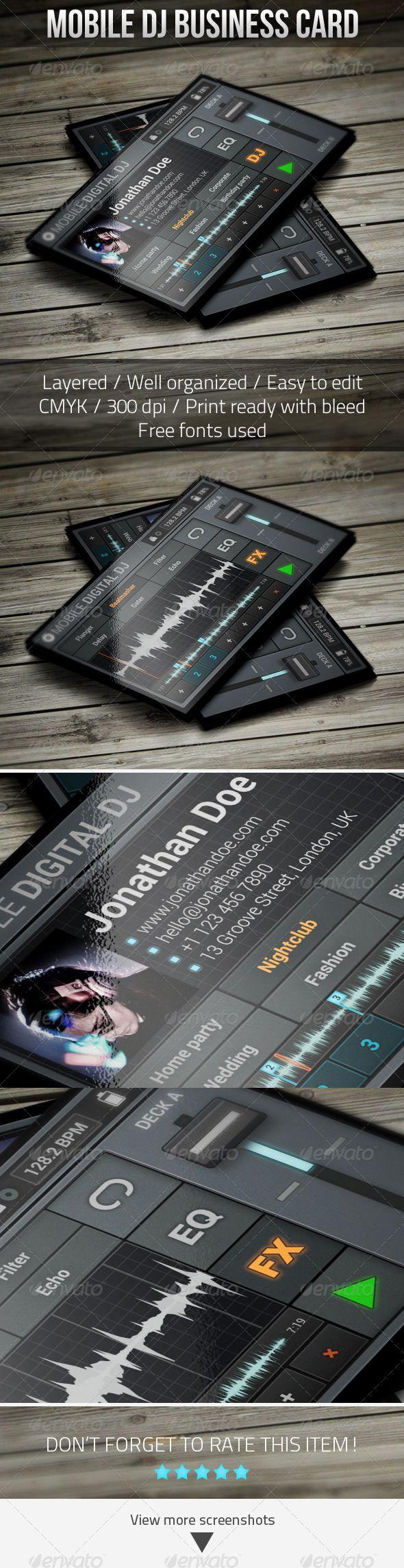 Mobile Digital DJ Business Card | Dj business cards, Dj and Business ...
