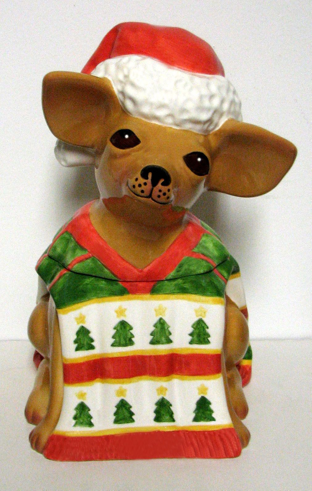 Chihuahua Cookie Jar Unique Rare Santa Chihuahua Clay Art Cookie Jar  Cookie Jars Jar And Santa