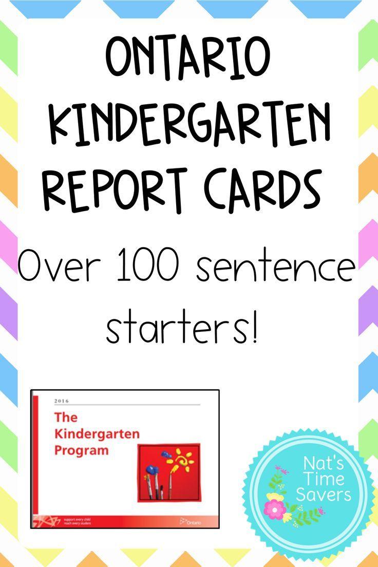 Ontario kindergarten report card bundle kindergarten