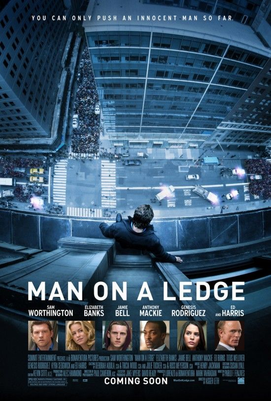 """Man on a Ledge"" poster. Staring at this too long may induce vertigo."