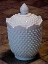 Vintage Fenton Hobnail Covered Cookie Biscuit Jar White Milk Glass PreMark 11""