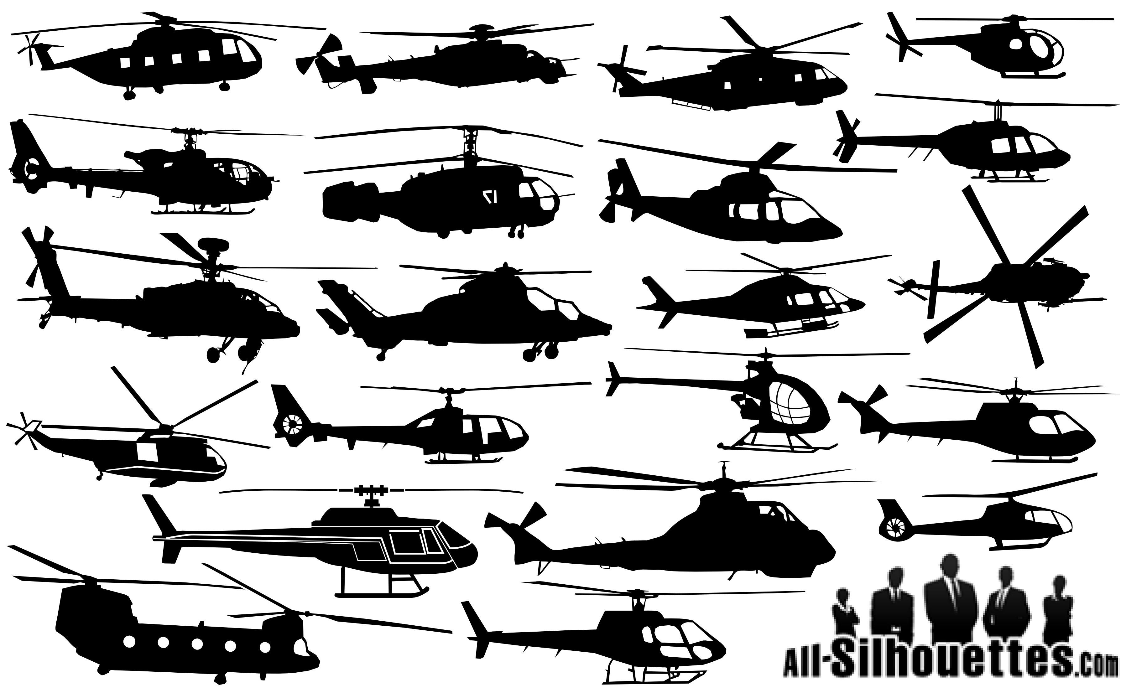 20 Helicopter Silhouettes