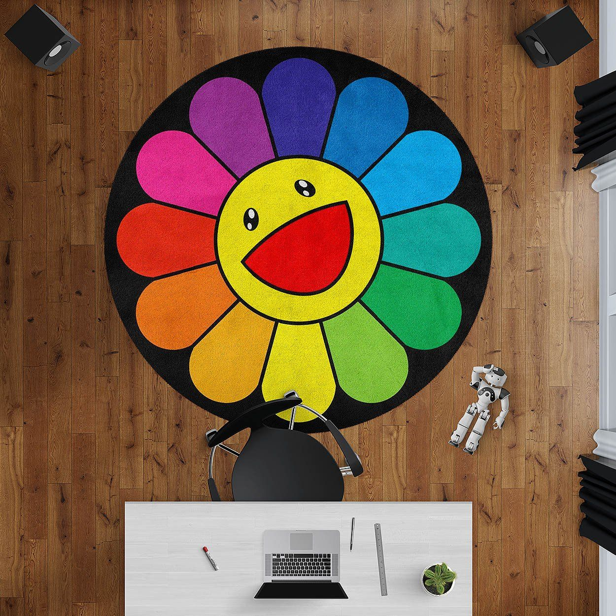 Happy Flower Round Rug Modern Contemporary Rugs Hypebeast Room Accessories In 2020 Colorful Area Rug Hypebeast Room Modern Art Living Room #sunflower #rug #for #living #room