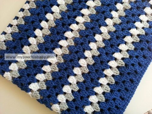 Large Crochet Baby Blanket - Handmade Striped Granny ...