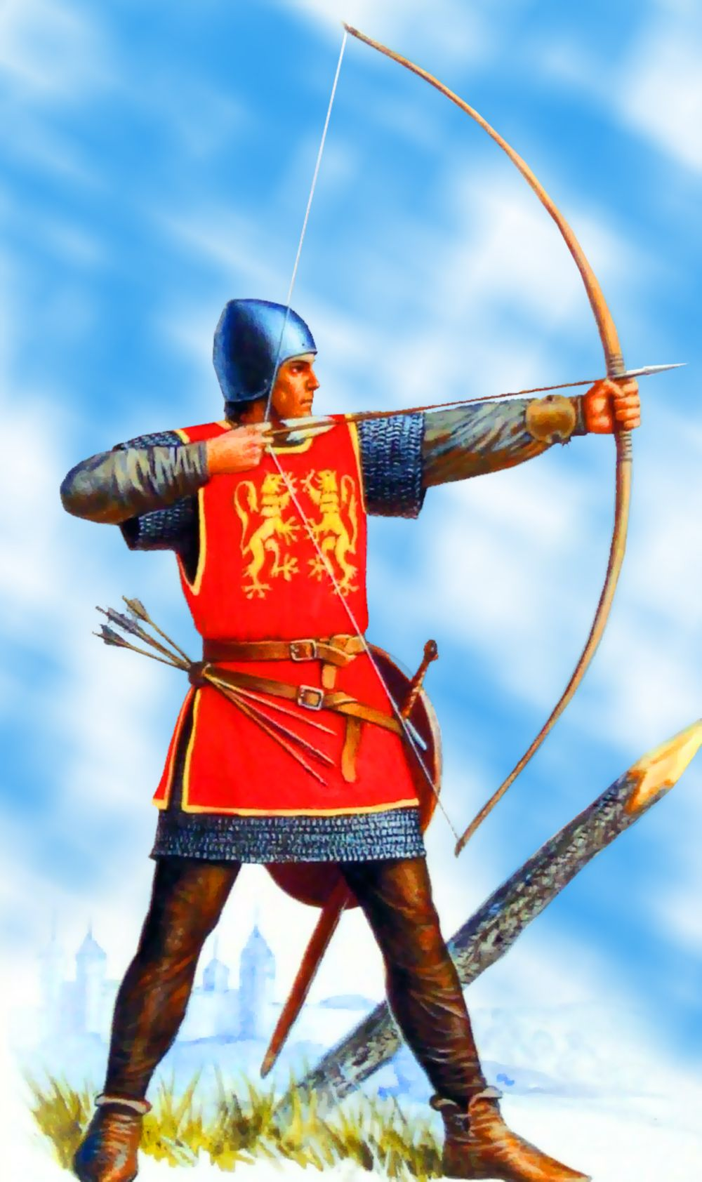 English longbowman, Hundred Years War | Medieval history, Medieval ...