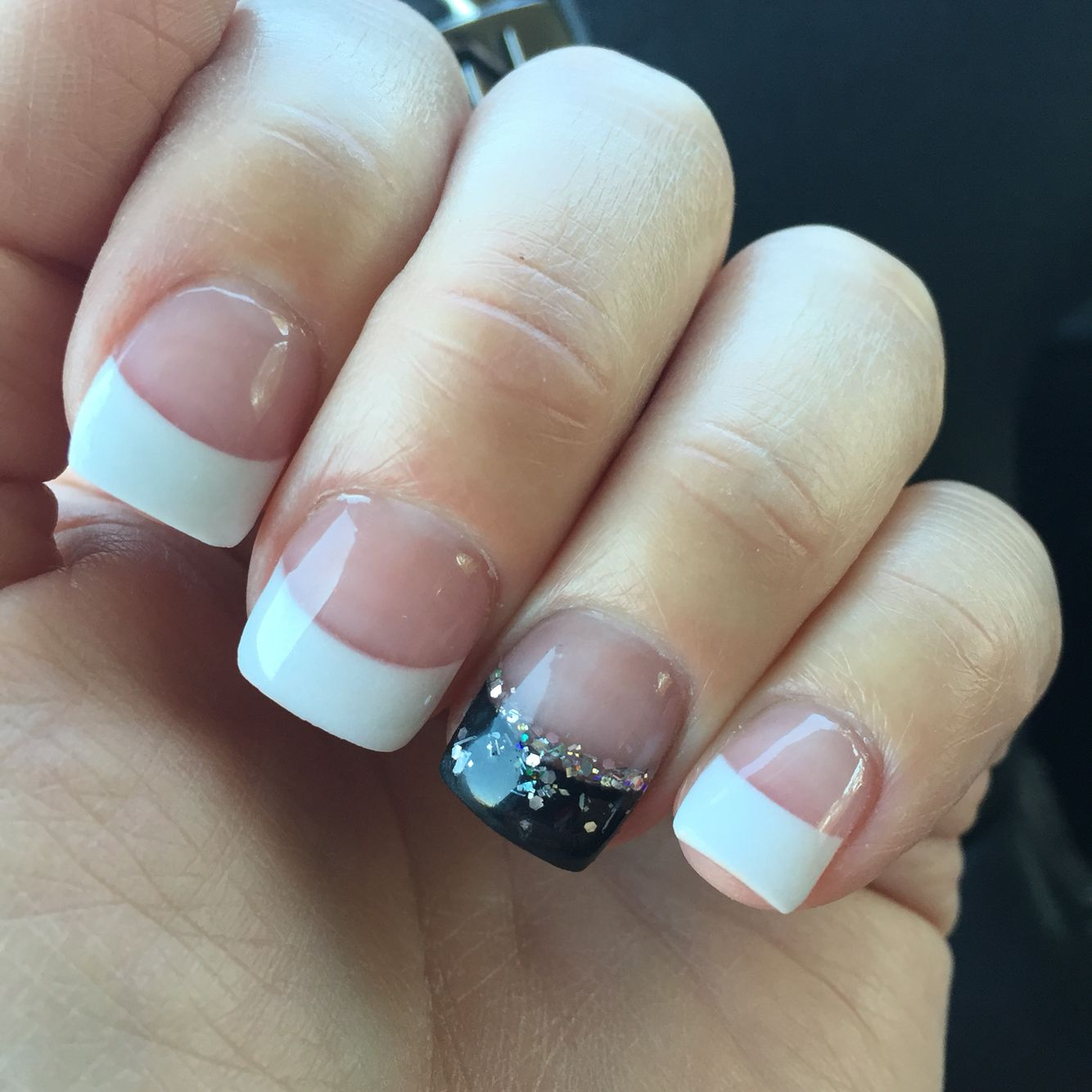 French Manicure With Black Silver Glitter Accent Ring Finger