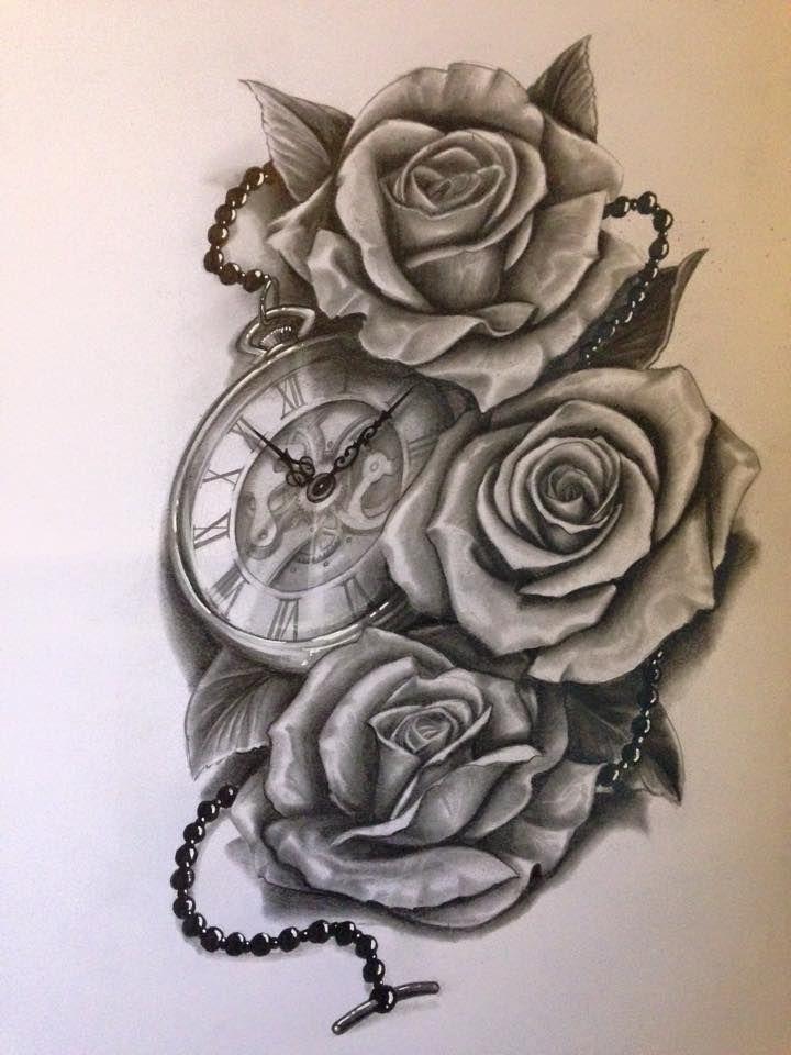 Resultado De Imagen Para Tattoo Reloj Y Rosas Mi Diseño Mejor