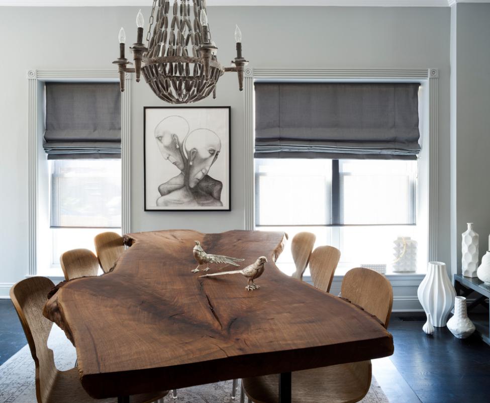 Transitional Dining Room   Roman Shades | Breeze Giannasio Interiors