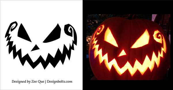5 Free Scary Halloween Pumpkin Carving Patterns / Stencils & Ideas 2015 | Printable Templates