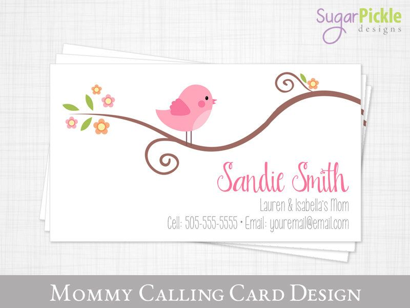 Mommy calling card business card for moms mom of cards play date mommy calling card business card for moms mom of cards play date card bird design kids calling card printable jpeg by sugarpickledesigns on colourmoves