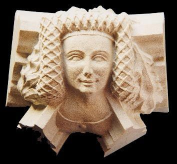 Joan, the Fair Maid of Kent (roof boss of Canterbury Cathedral; wife of Edward, oldest son of Edward III; mother of Richard II, who lost his crown to Lancastrian Henry of Bolingbroke, laying the foundation for the War of the Roses.
