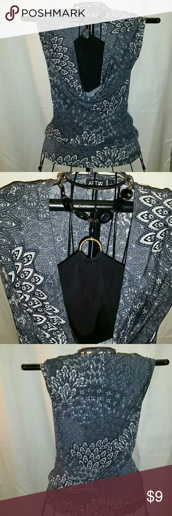 Apt  9 Sleeveless blouse Cool material,  black, gray and tan print,  attached  black  halter w/large beaded  neck tie. Apt. 9 Tops Blouses
