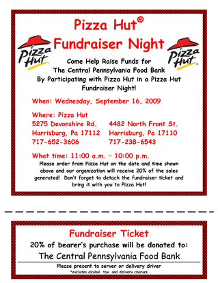 Pizza Hut Fundraiser  Pizzas Group And Fundraising