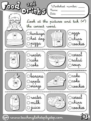 Food And Drinks Worksheet 3 B W Version Fichas De Trabalho