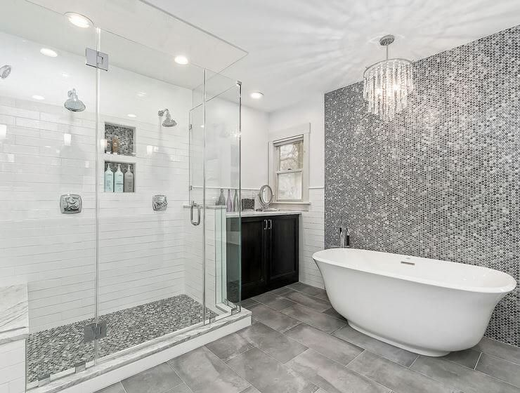 Which Uses More Water Taking A Shower Or A Bath With Images Bathtub Tile Grey Bathrooms Large Bathrooms