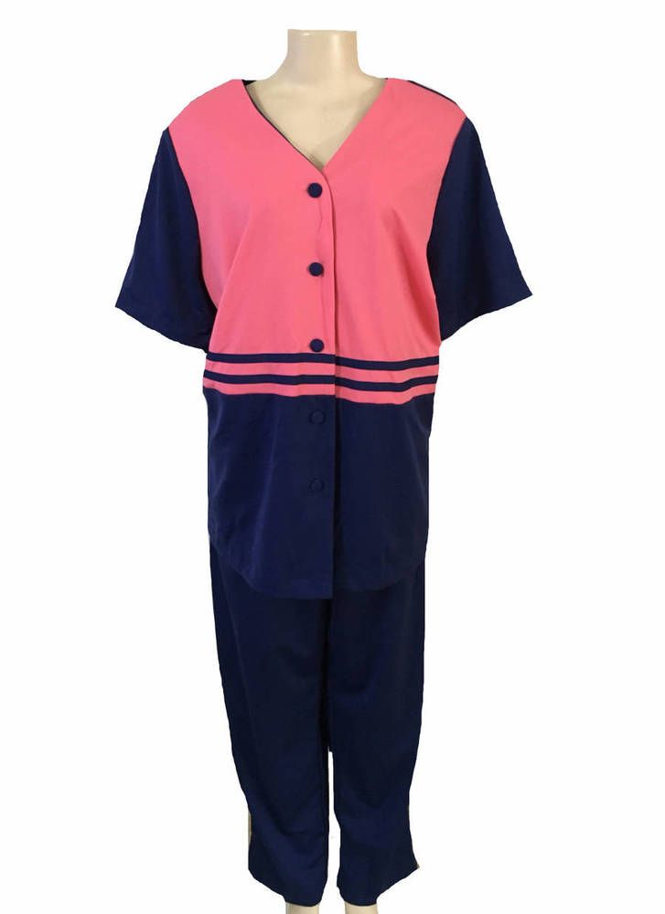 Vintage Chelsea Studio Blue Pink Short Sleeve Blouse and Pant Set Size 20W | eBay