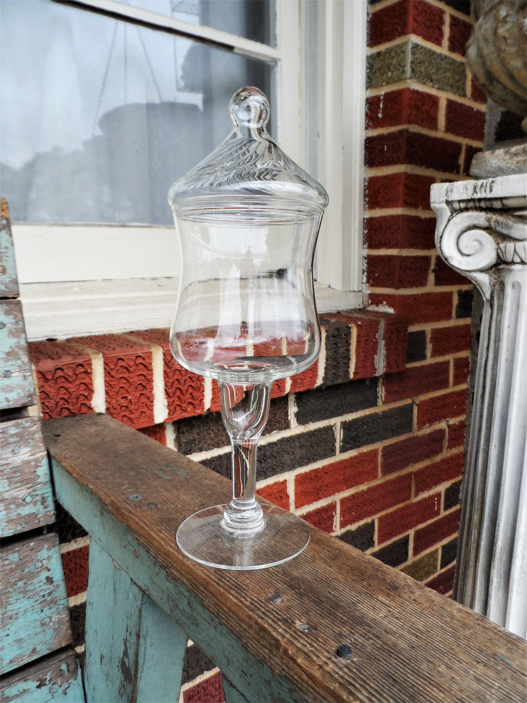 Vintage Gl Jar Long Pedestal Clear Apothecary