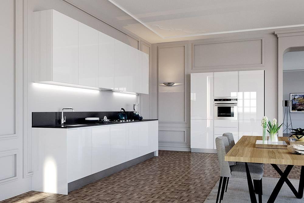 Cucina ad angolo con colonna, in polimerico lucido, con apertura a ...
