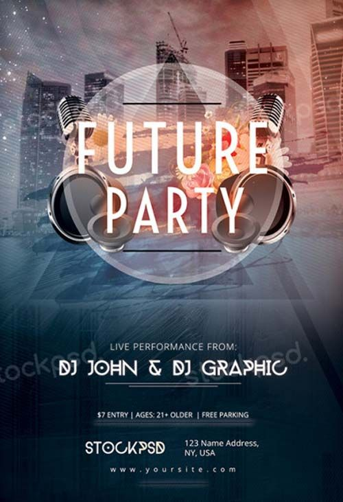 Future Party Free PSD Flyer Template -   freepsdflyer