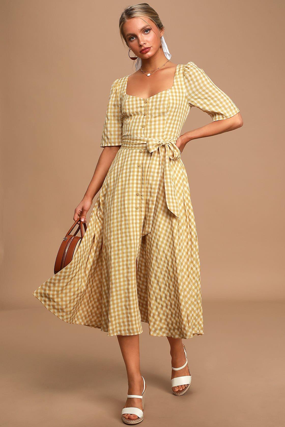 Sweet Little Thing Mustard Yellow Gingham Button Up Midi Dress In 2021 Midi Dress Midi Flare Skirt Lace Midi Dress [ 1680 x 1120 Pixel ]