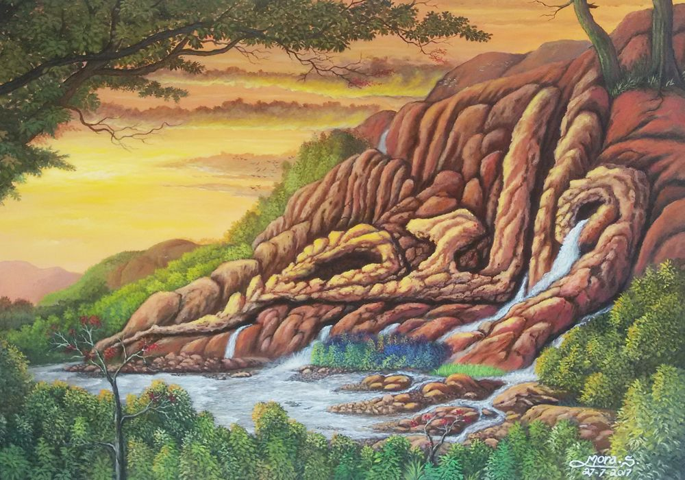 Lukisan Kaligrafi Dengan Alam Kaligrafi Pemandangan Alam