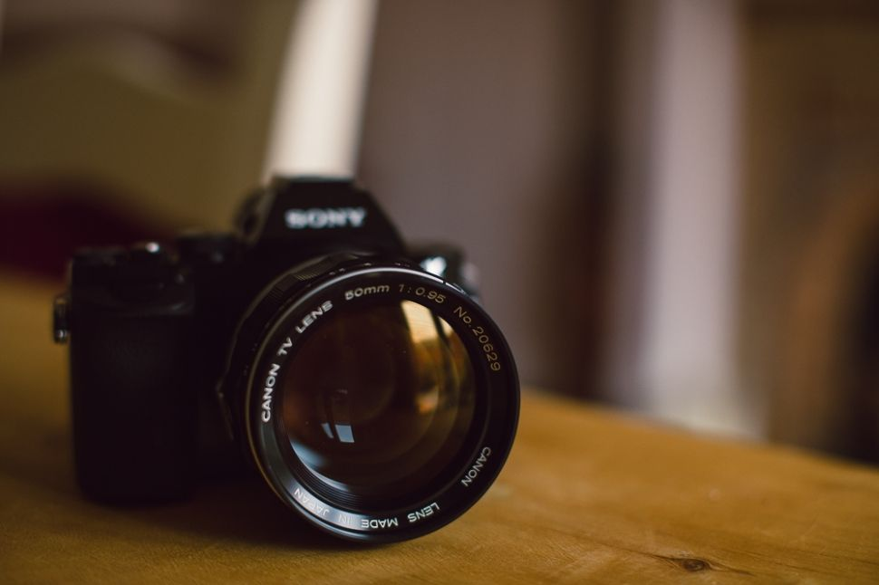 Sony A7 mirrorless full frame camera with Canon 50mm f/0.95 lens ...