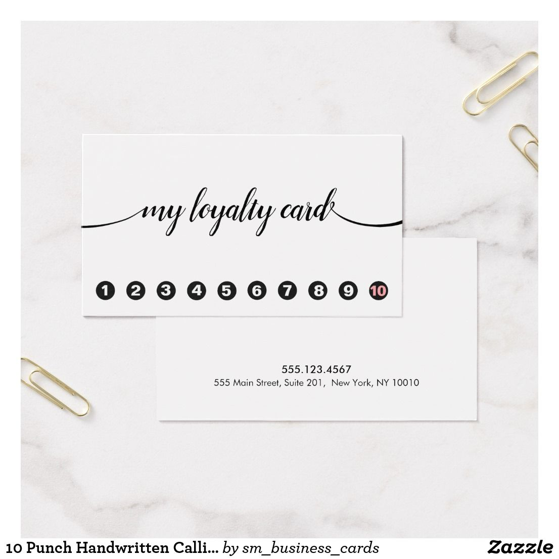10 Punch Handwritten Calligraphy Loyalty | Business cards