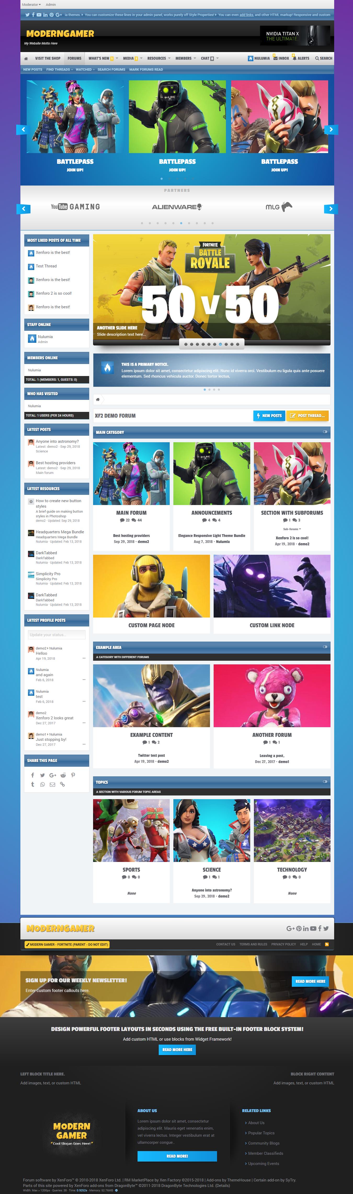 Modern Gamer - Powerful Gaming Portal Xenforo 2 Theme Bundle