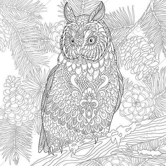 Coloring page for adults. Digital coloring pages. Owl Bird. Eagle-owl. Adult coloring page. Printable adult coloring book. Instant download.