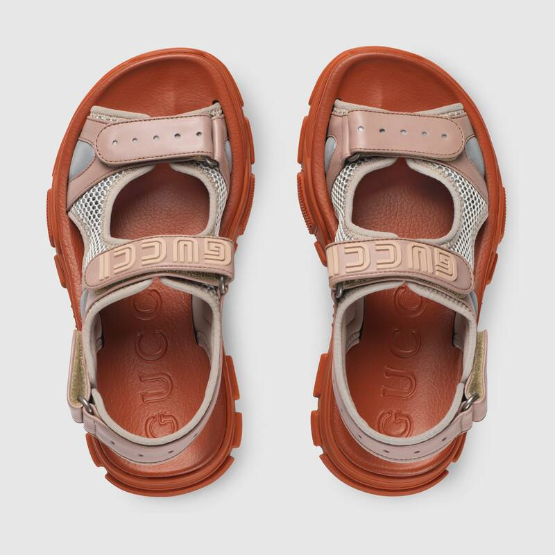 Shop The Pink Leather And Mesh Sandal At Gucci Com Enjoy Free Shipping And Complimentary Gift Wrapping In 2020 Womens Sandals Gucci Leather Sandals