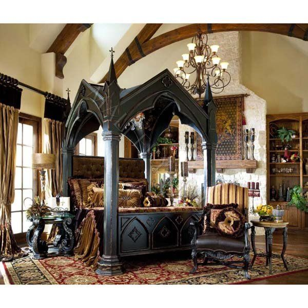 Gothic Canopy Mahogany Chandelier King Bed Velvet Tufted - $20000.00  Mallery Hall Fine High & Gothic Canopy Mahogany Chandelier King Bed Velvet Tufted ...