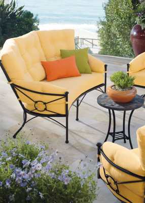 Outdoor Seating Looks Charming With These Soft Yellow Cushions