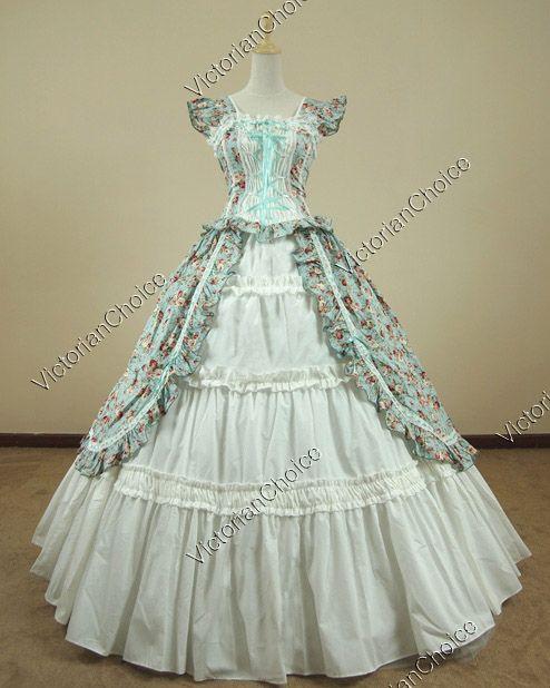 Victorian Gothic Lolita Cotton Dress Ball Gown Prom Reenactment ...
