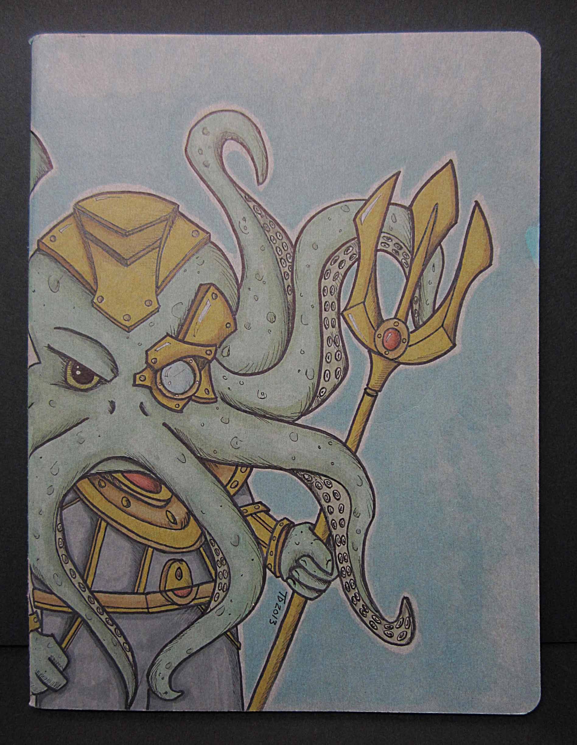This is a hand illustrated Moleskine Cahier blank journal/sketchbook. There are no lines. This was done in ink and prismacolor marker. This is an original character of mine.
