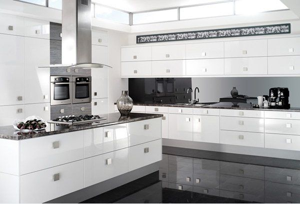17 White And Simple High Gloss Kitchen Designs Simple Kitchen