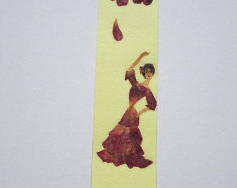 "Handmade unique bookmark ""Energy"" - Decorated with dried pressed flowers and herbs - Original art collage."