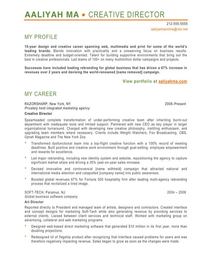 Creative Director-Page1 Designer Resume Samples Pinterest - profile or objective on resume