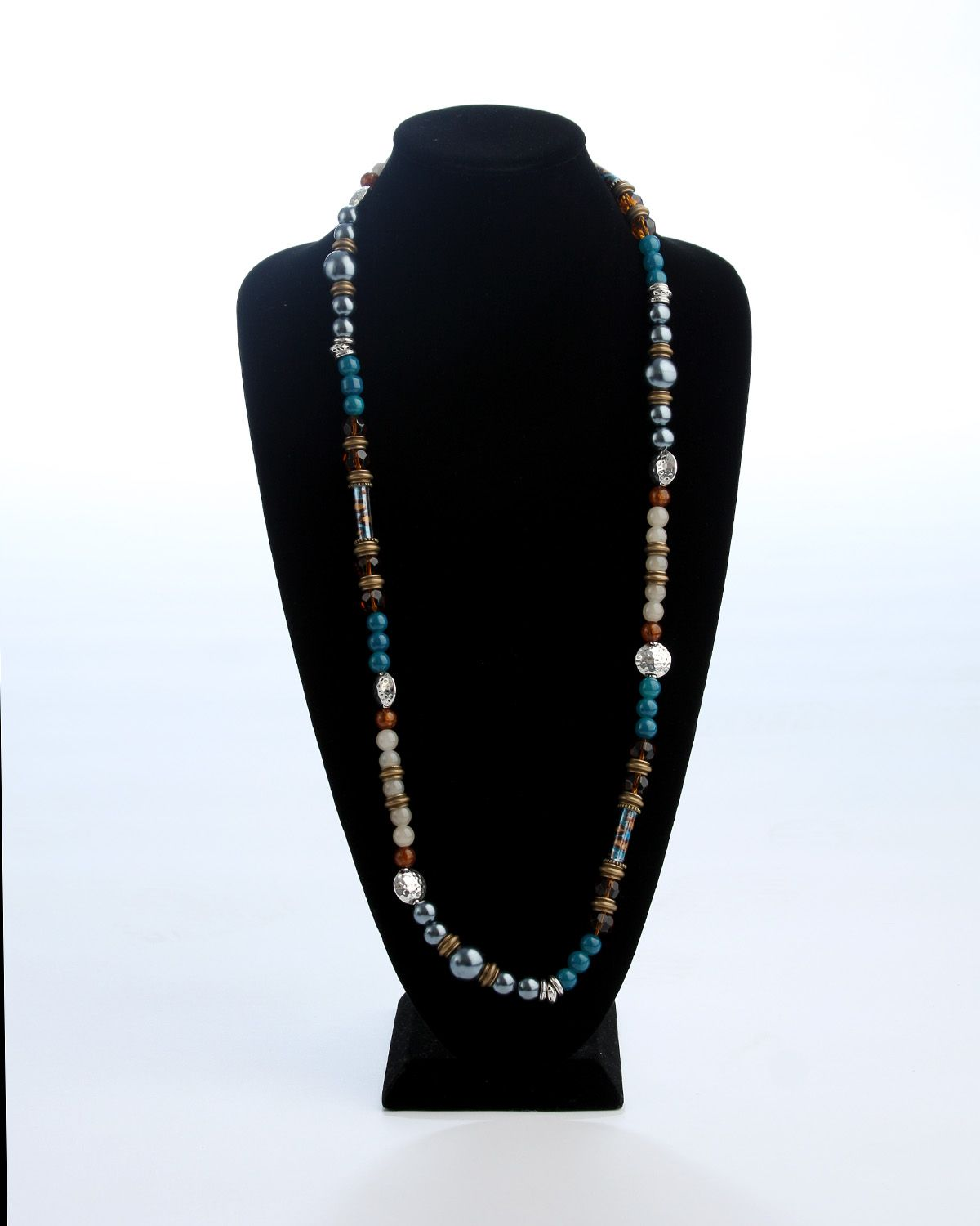 """Vi Bella Jewelry - Seaside Necklace -The outstanding Seaside Necklace is made of a great combination of colors and textures that invoke the feeling of the seaside.  The Seaside Necklace is one long, beaded strand made using signature upcycled Vi Bella plastic bottle beads in colors of blue, copper, and brown, faceted brown glass beads, slate gray pearls, and beads of blue, antique bronze, and silver.      Length - 40.5""""  Handcrafted by Vi Bella Artists in Haiti.  $38.95"""