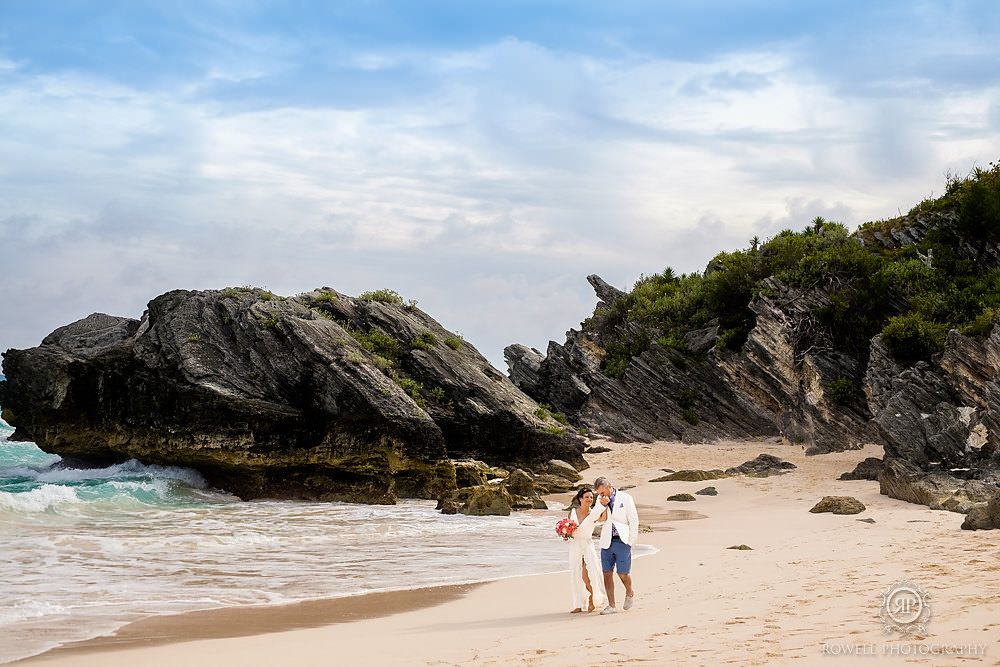 At the Windermere House Bermuda wedding, Couple beach