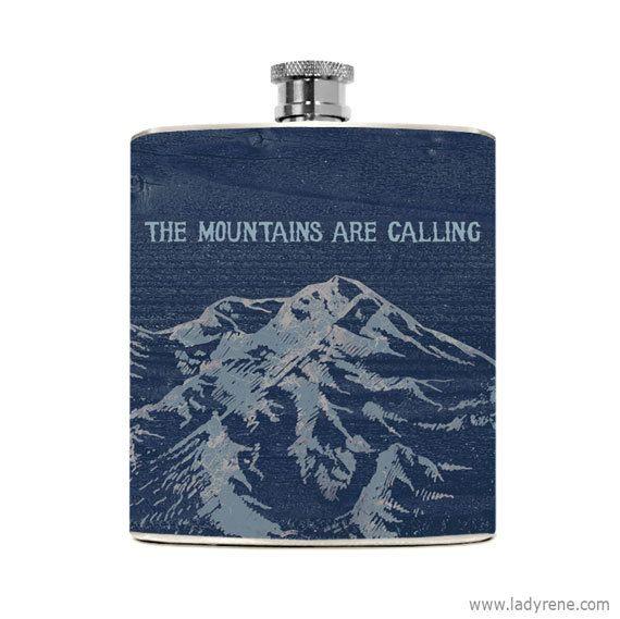 Berg Landschaft Whiskey Flasche Natur wandern, Camping im freien Klettern Abenteuer Fernweh Edelstahl